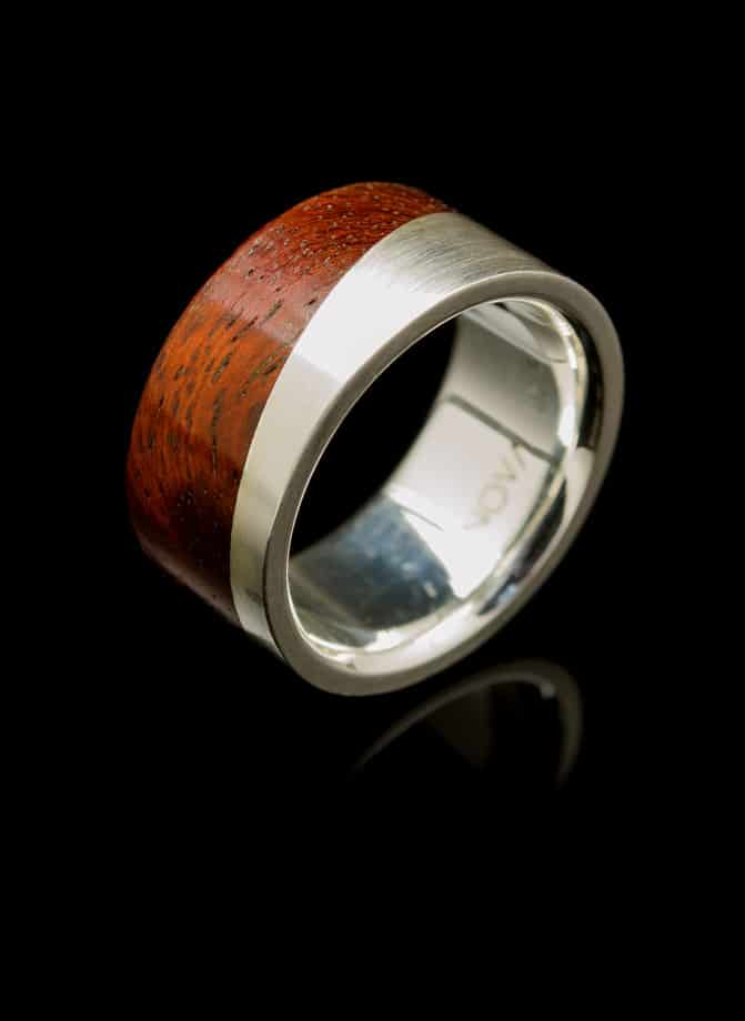 silver ring with wood inlay collection
