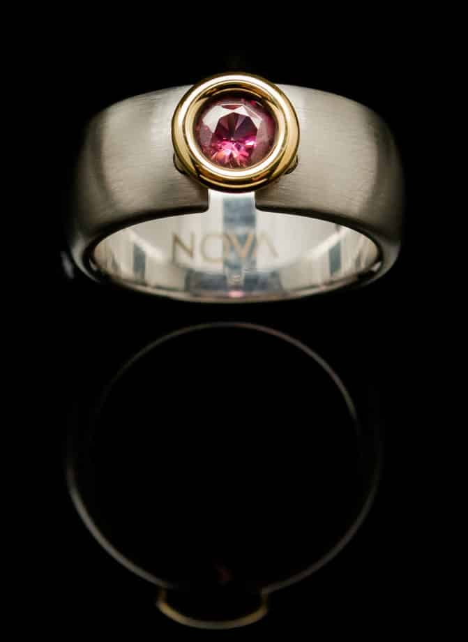 Garnet with Stainless Steel Ring Round Gold Setting (RS15-3)