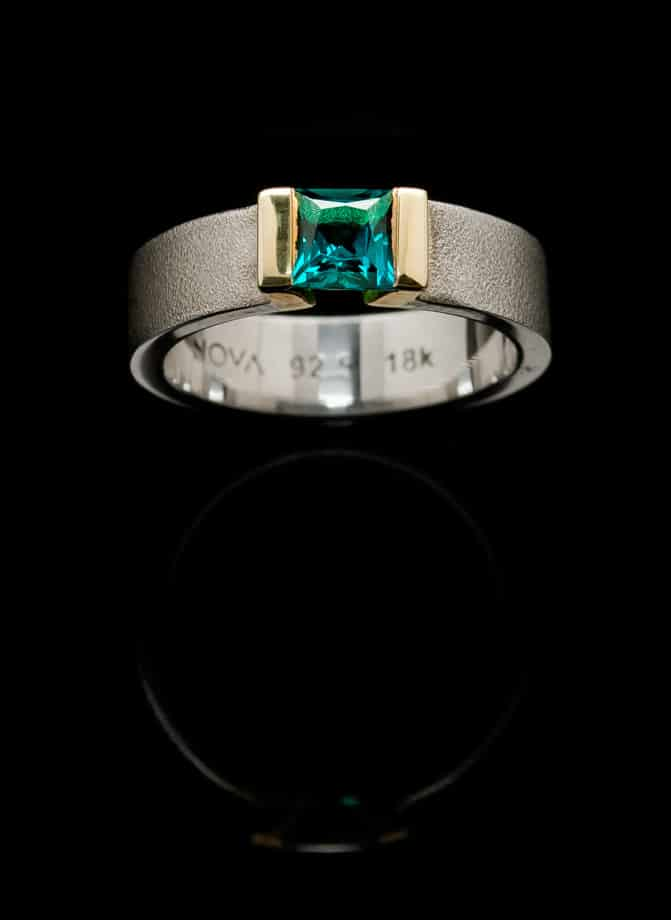 Silver Ring with Created Emerald and Gold setting (R229sq-25)