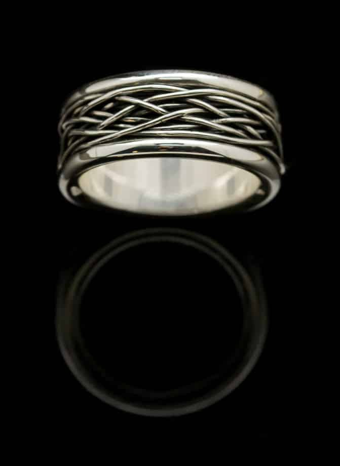 silver ring with silver wire wrap r42s