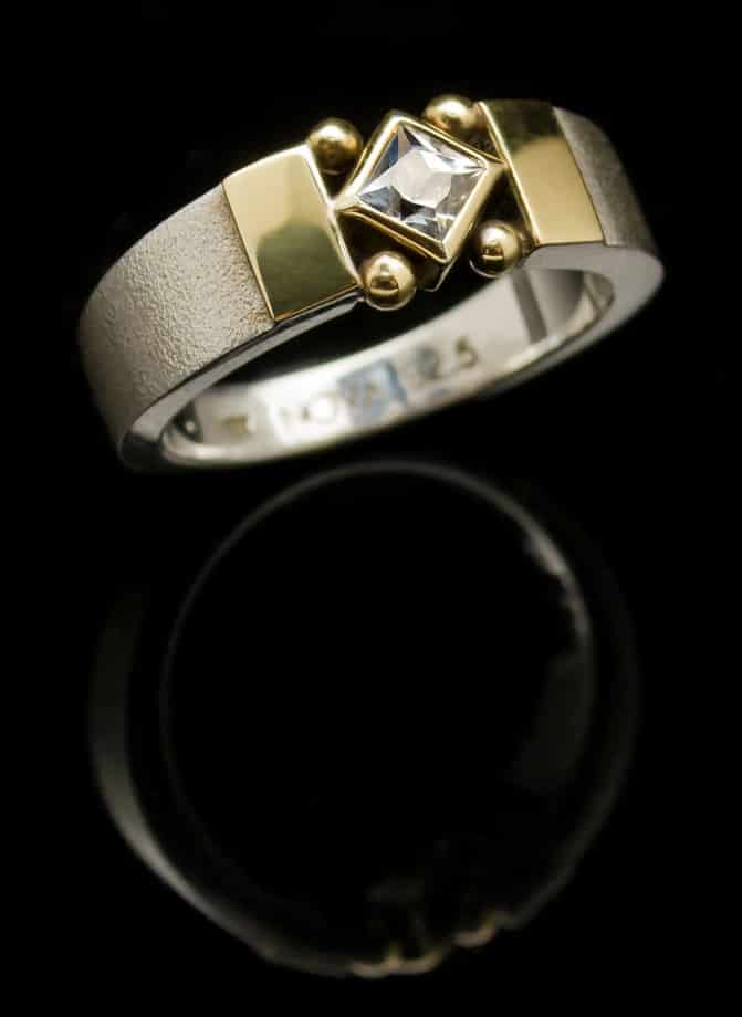 Silver Ring with White Topaz and Gold setting (R204-24)