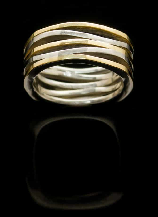 silver ring with yellow gold square r263sq