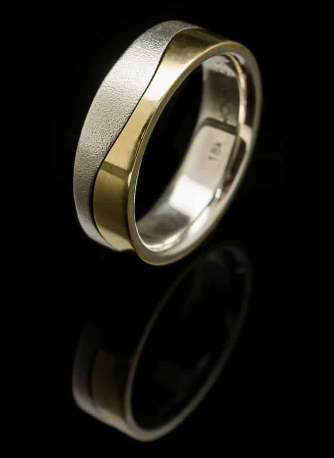 Silver Ring with Yellow Gold Wave (R187-y)