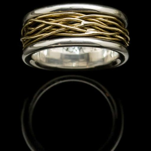 silver ring with yellow gold wire wrap r42y18k