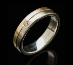 Stainless Steel Ring with 0.06ct Diamond and Rose+Yellow Gold Inlays (RS2-r-y-r-diaN)