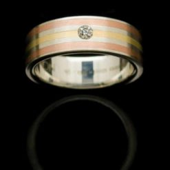 stainless steel ring with diamond and roseyellow gold inlays rs2ryrdian