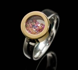 Stainless Steel Ring with Diamond and Silver Inlays (RS5-sil-dia-SM)