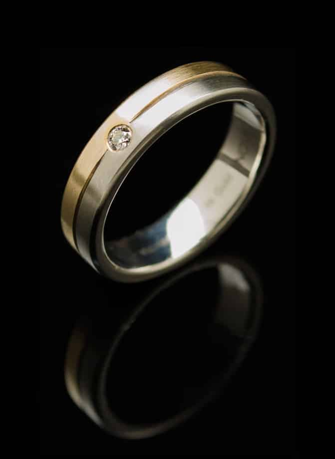 Stainless Steel Ring with Diamond and Yellow Gold Inlay (RS5-y-sm-dia)