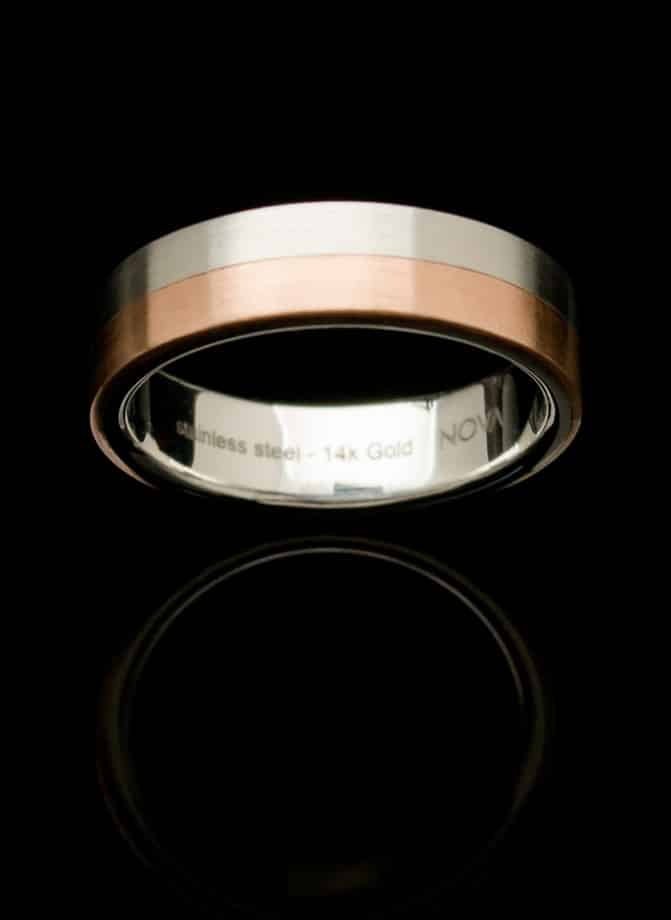 Stainless Steel Ring with Rose Gold Inlay (RS5-r-sm)