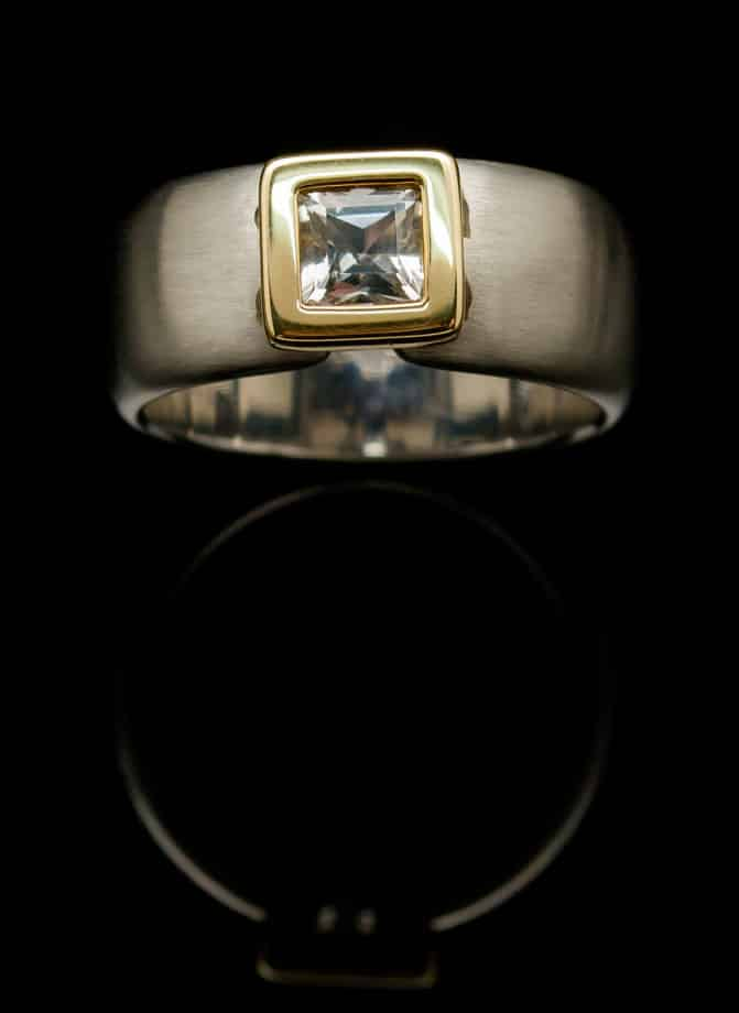 White Topaz &Stainless Steel Ring with Square Gold Setting (RS18-24)