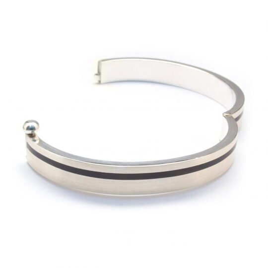 Sterling Silver Bracelet with Ebony Wood Inlay (BR79)