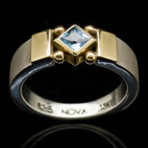 silver gold blue topaz ring r204