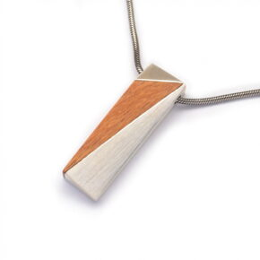 Silver Pendant with Rose Wood Inlay (PN178)