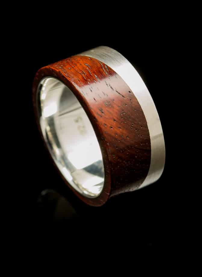 Silver Ring with Rose Wood Inlay (R247)