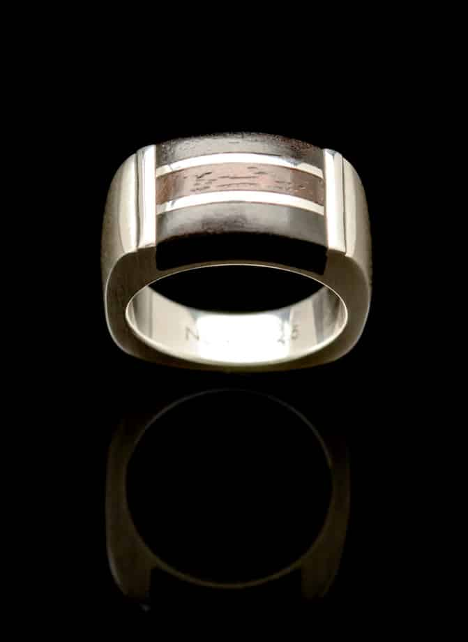 silver wood ring r285