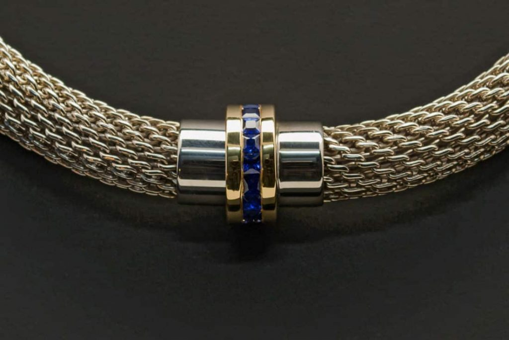 Silver Chain with Yellow Gold, Sapphire Pendant (PN97-7)