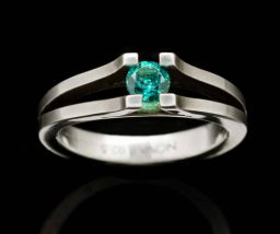 Curve Silver Ring with Created Emerald (R218-25)