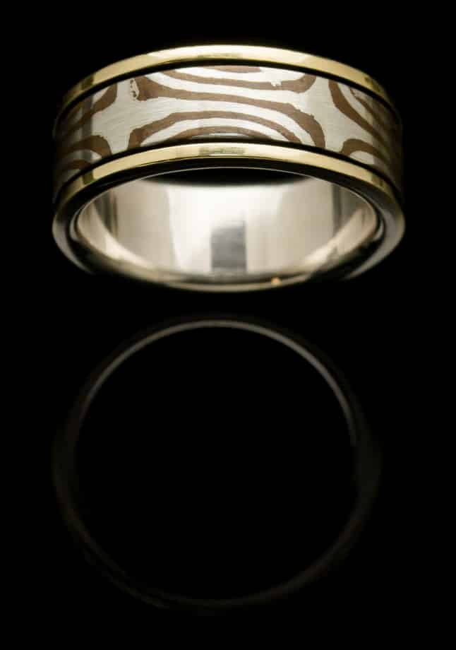 Silver Mogume Gane Ring with Yellow Gold (R272)