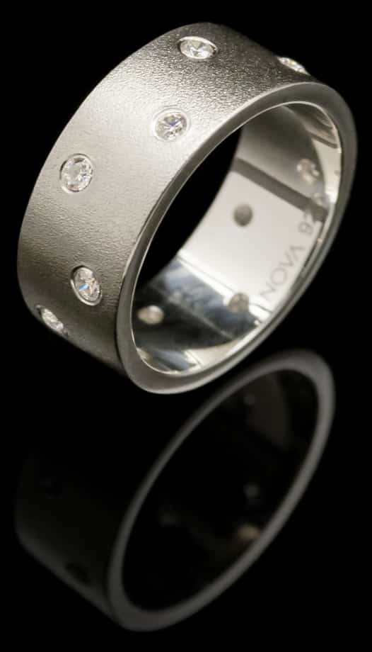 Silver Ring with Cubic Zirconia & Sand blasted finish(R70-10)