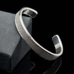 Sterling Silver Mesh Design Bangle Bracelet (BR118)