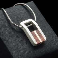 Silver Pendant with Yellow Gold and Rose Wood Inlay (PN140)
