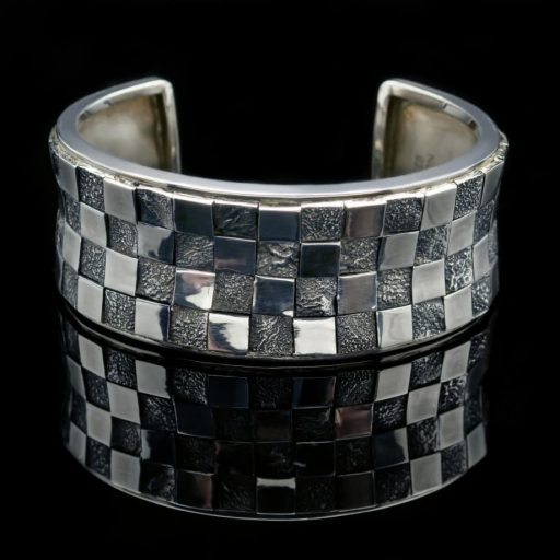 Sterling Silver Bangle Textured Bracelet (BR54)