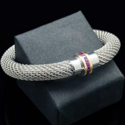 18k yellow gold & Ruby with Sterling Silver 925 bracelet (BR91-Ruby)