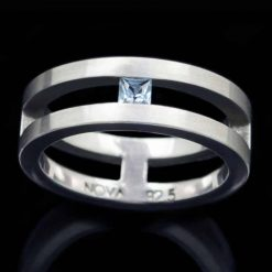 Sterling Silver Ring with Blue Topaz (R25-4)