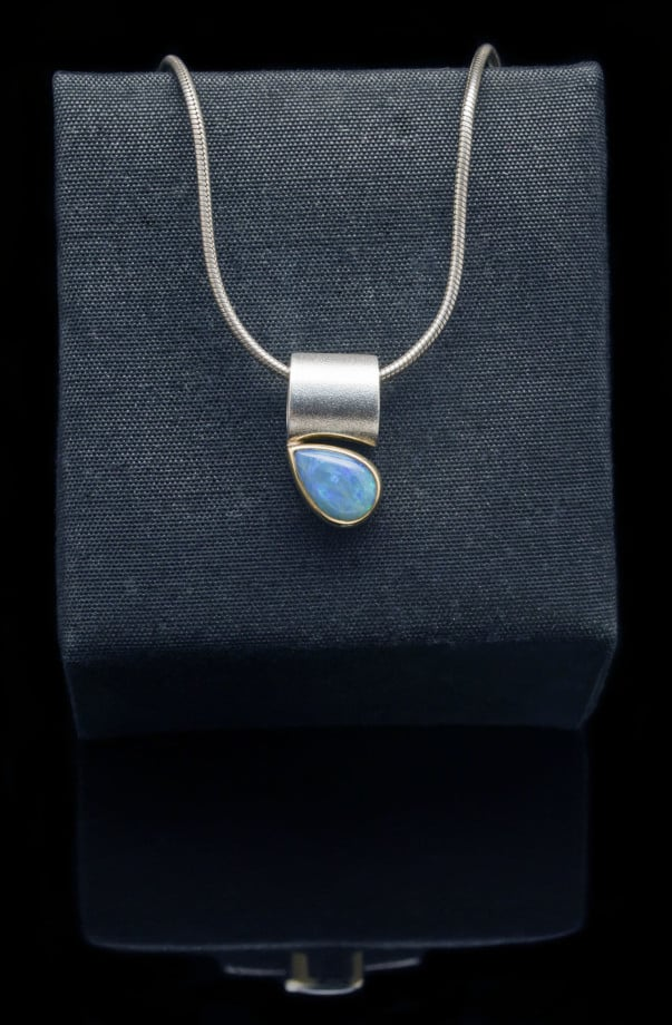 18k Gold Pendant with Sterling Silver and Opal (PN56-20)