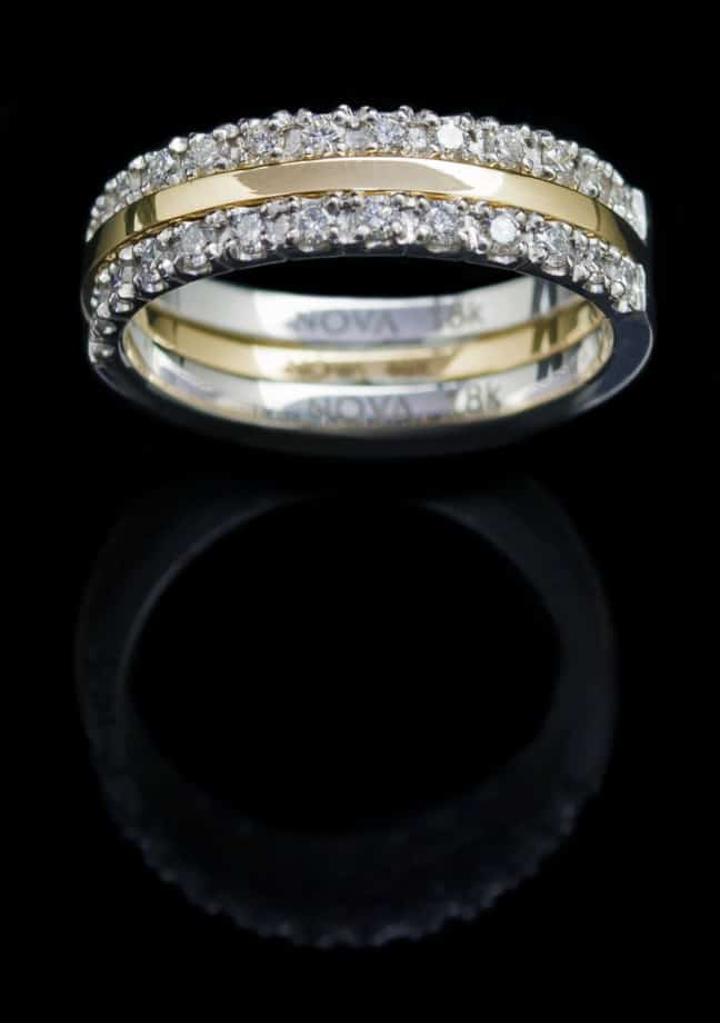 18K Yellow Gold Ring and White Gold Rings with 0.54ct Diamond (GR60)