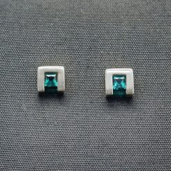 Pricess Cut Created Emerald Earrings with Sterling Silver (ER75-25)