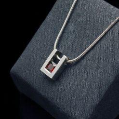 Sterling Silver Pendant with Princess Cut Garnet (PN55-3)