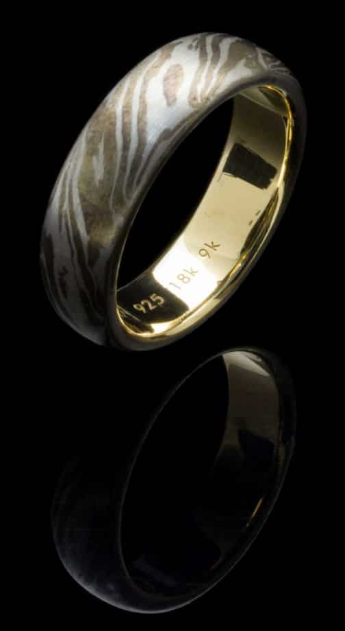 Silver Mogume Gane Ring with 18k & 9k Yellow Gold (R272c-9k)