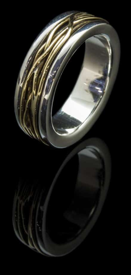 Silver Ring with 18k Yellow Gold (R42 y18k)