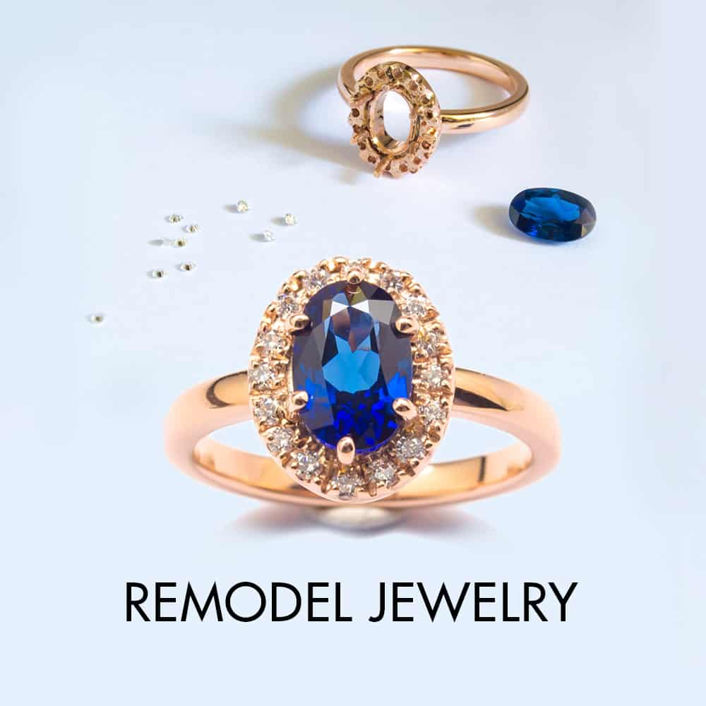 Blue Sapphire rose gold ring with loose diamonds,Link to remodel jewelry service page