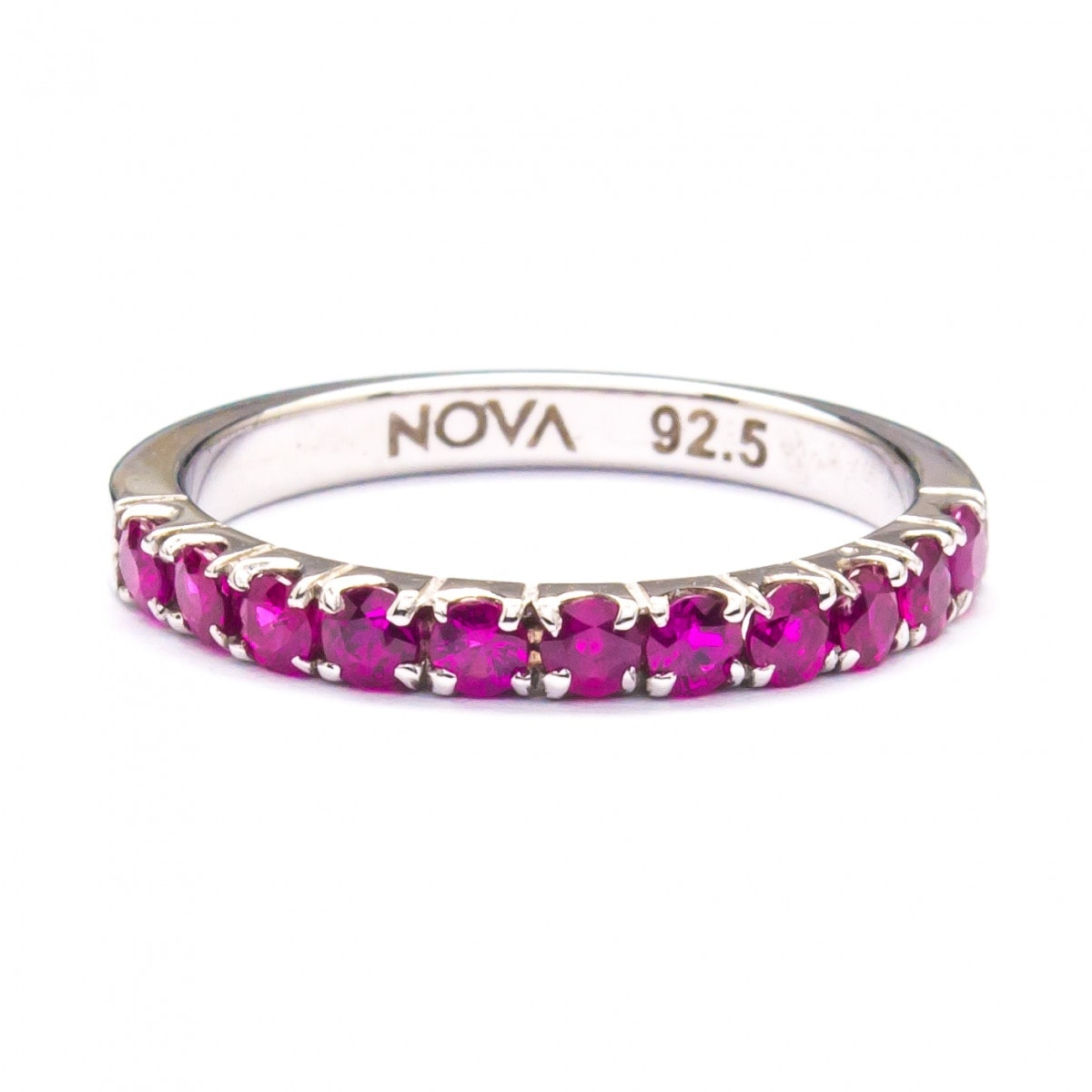 Silver Ring with Pave Setting Ruby (R282-Ruby)
