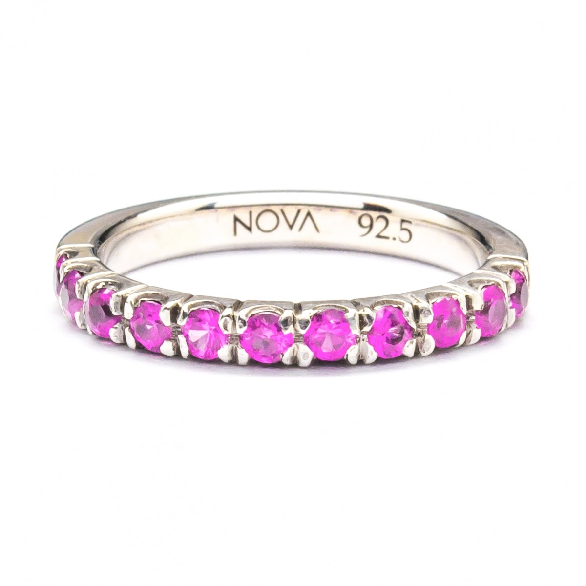 Silver Ring with Pave Setting Pink Sapphire (R282-P.Sap)