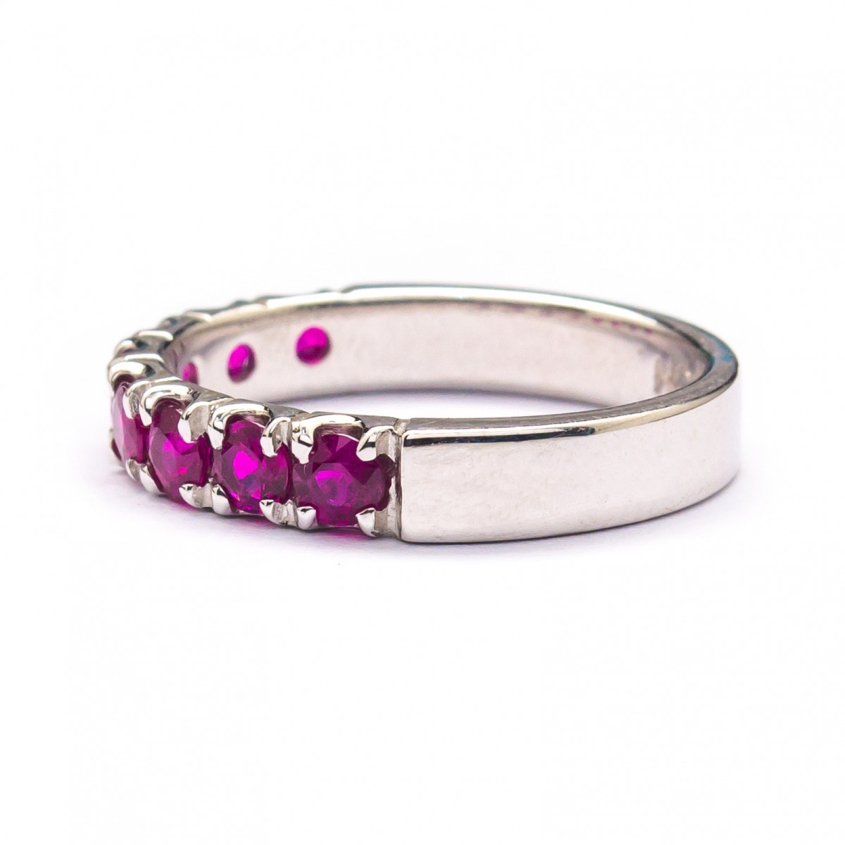 Silver Ring with Pave Setting Ruby (R282L-Ruby)