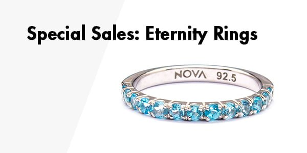Eternity rings special jewelry sales banner, blue topaz gemstone ring